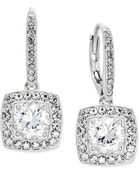 Danori - Silver-tone Crystal Square Drop Earrings - Lyst