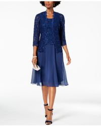 Alex Evenings - Midi Dress & Sequined Lace Jacket, Regular & Petite - Lyst