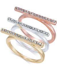 INC International Concepts - I.n.c. Tri-tone 3-pc. Set Crystal Bar Ring, Created For Macy's - Lyst