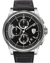 Ferrari - Chronograph Formula Italia S Black Leather Strap Watch 46mm 830275 - Lyst