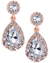 Charter Club - Rose Gold-tone Crystal Drop Earrings - Lyst