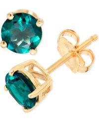 Macy's - Lab-created Emerald Stud Earrings (9/10 Ct. T.w.) In 14k Gold - Lyst