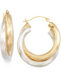 Signature Gold - Two-tone Double Hoop Earrings In 14k Gold - Lyst