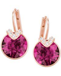 Swarovski - Silver-tone Oval Crystal Drop Earrings - Lyst