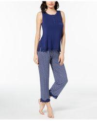 Alfani - Printed Lace-trim Pajama Set, Created For Macy's - Lyst