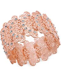 INC International Concepts - I.n.c. Rose Gold-tone Crystal Filigree Stretch Bracelet, Created For Macy's - Lyst