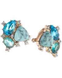 Carolee - Gold-tone Crystal & Multi-stone Clip-on Stud Earrings - Lyst