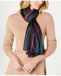 Echo - Pinstriped Silk Oblong Scarf - Lyst