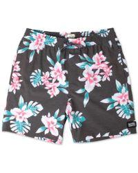 "Rip Curl Easy Livin' Bright Floral Print 18"" Swim Trunks - Black"