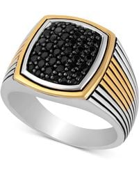 Macy's - Black Sapphire Ring (3/4 Ct. T.w.) In Sterling Silver & 18k Gold-plate - Lyst