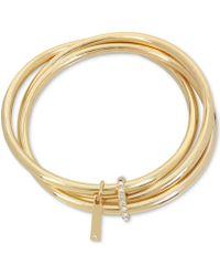 Kenneth Cole - Gold-tone 3-pc. Set Crystal Charm Bangle Bracelets - Lyst