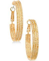 """Guess - 1 1/2"""" Textured Hoop Earrings - Lyst"""