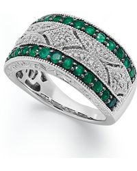 Macy's - Emerald (1/2 Ct. T.w.) And Diamond Accent Antique Band In Sterling Silver - Lyst