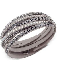 Swarovski - Golden Fabric Crystal Stud Wrap Bracelet - Lyst