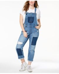 Celebrity Pink - Plus Size Distressed Denim Overalls - Lyst
