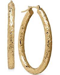 Macy's | Diamond-cut Hoop Earrings In 14k Gold | Lyst