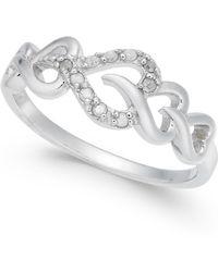 Macy's - Diamond Heart Ring (1/10 Ct. T.w.) In Sterling Silver - Lyst