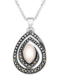 """Macy's - Pink Shell & Marcasite 18"""" Pendant Necklace In Fine Silver-plate - Lyst"""