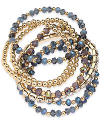 INC International Concepts - I.n.c. Gold-tone 7-pc. Set Bead & Crystal Stretch Bracelet, Created For Macy's - Lyst
