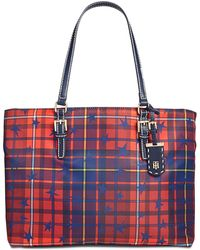 Tommy Hilfiger - Julia Star Plaid Extra-large Tote - Lyst