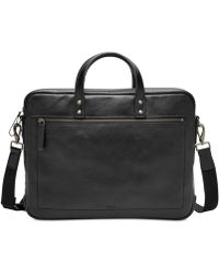 Lyst Fossil Defender Leather Briefcase In Black For Men - Porte document fossil