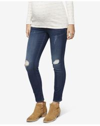 Luxe Essentials - Maternity Distressed Skinny Jeans - Lyst