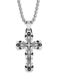 Macy's | Diamond Accent Cross Pendant Necklace In Stainless Steel | Lyst