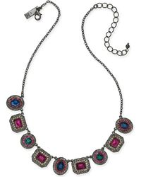 """INC International Concepts - I.n.c. Hematite-tone Crystal Collar Necklace, 16"""" + 3"""" Extender, Created For Macy's - Lyst"""