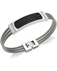 Macy's | Men's Three-row Cable And Diamond Bracelet In Stainless Steel (1/6 Ct. T.w.) | Lyst