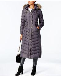 Michael Kors - Knit-trim-sides Faux-fur-trimmed Maxi Puffer Coat - Lyst