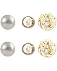 Charter Club - Gold-tone 3-pc. Set Crystal & Imitation Pearl Stud Earrings, Created For Macy's - Lyst