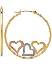 Macy's - Tri-color Triple Heart Hoop Earrings In 10k Gold, 1 1/8 Inch - Lyst