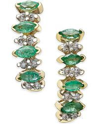 Macy's - Emerald (3/4 Ct. T.w.) And Diamond (1/4 Ct. T.w.) Earrings In 14k Gold - Lyst