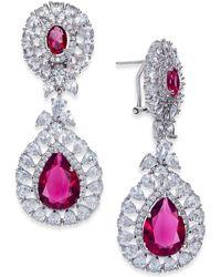 Joan Boyce - Silver-tone Double Teardrop Crystal Drop Earrings - Lyst