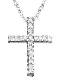 Macy's - Diamond Cross Pendant Necklace In 14k White Gold (1/10 Ct. T.w.) - Lyst