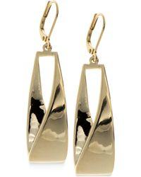 Anne Klein - Gold-tone Twisted Metallic Drop Hoop Earrings - Lyst