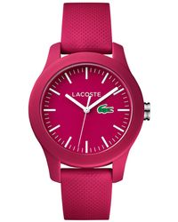 Lacoste - Women's 12.12 Pink Rubber Strap Watch 38mm 2000957 - Lyst
