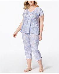 Miss Elaine - Plus Size Printed Lace-trim Short-sleeve Pajama Set - Lyst