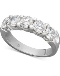 Macy's | Certified Five Diamond Station Band Ring In 14k White Gold (2 Ct. T.w.) | Lyst