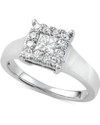 Macy's - Diamond Sqare Cluster Engagement Ring (7/8 Ct. T.w.) In 14k White Gold - Lyst