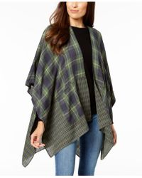 Steve Madden - City Chic Plaid Poncho With Pockets - Lyst