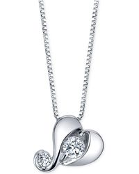 Proud Mom - Diamond Heart Pendant Necklace (1/7 Ct. T.w.) In 14k White Gold - Lyst