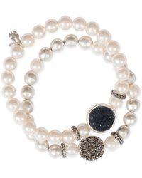 Lucky Brand - Silver-tone 2-pc. Set Pavé, Druzy Stone & Imitation Pearl Stretch Bracelets - Lyst