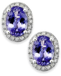 Macy's | Tanzanite (1-1/2 Ct. T.w.) And Diamond (1/5 Ct. T.w.) Oval Stud Earrings In 14k White Gold | Lyst