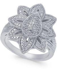 Macy's - Diamond Fancy Floral Statement Ring (1/7 Ct. T.w.) In Sterling Silver - Lyst