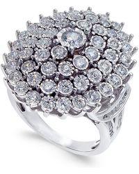 Macy's - Diamond Bezel-set Cluster Ring (2 Ct. T.w.) In 14k White Gold - Lyst