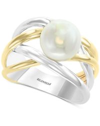 Effy Collection - Effy® Cultured Freshwater Pearl (9mm) Crisscross Ring In Sterling Silver & 14k Gold - Lyst