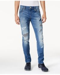 Armani Exchange - Men's Skinny-fit Stretch Ripped & Repaired Jeans - Lyst