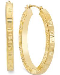 Macy's - Etched Hoop Earrings In 10k Gold - Lyst