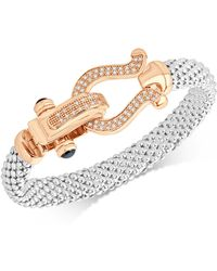 Macy's - Diamond Dew Drop Mesh Horseshoe Bracelet (5/8 Ct. T.w.) In Sterling Silver And 14k Rose Gold-plate - Lyst